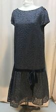 1950s Ladies Maternity Black Lace Flapper Style Short Sleeves Pullover Collared