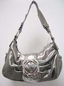 Gorgeous Small Silver Handbag w/ Lots of Pocket and Rhinestones on Buckle