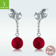 925 Sterling Silver Stud Dangle Earrings Red Sacred Fruit Passionate Ear Jewelry