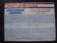 WEST HAM UNITED V MANCHESTER UNITED  26/02/1994  USED TICKET STUB