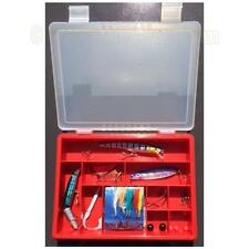 Sea Fishing Spinners, Feathers and Lures in Tackle Box - Mackerel Pollock Bass
