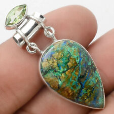 Azurite Chrysocolla and Green Sapphire 925 Silver Pendant Jewelry AP53564