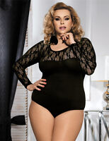 Women's Plus Size Black Lace Lingerie Teddy Leotard Bodysuit 8 10 12 14 16 18