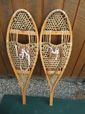 "VINTAGE SNOWSHOES 42"" Long x 12"" Wide  Signed FABER with Leather Bindings"