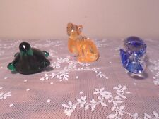 Glass Animal Paperweight Made in Italy Royal Gallery Turtle, Cat & Hippo