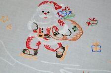 SANTA ICE SKATES ON POND! VTG GERMAN CHRISTMAS HAND EMBROIDERED TABLECLOTH