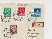 German 1941 Multiple Wien Cancels & Stamps Registered Stamps Cover ref R17222