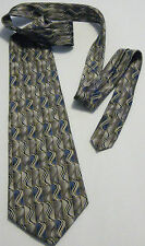 PIERRE CARDIN Brown~Blue 100% Silk Men's Necktie (Made in U.S.A.)