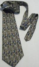 PIERRE CARDIN Brown~Blue 100% Silk Men's Necktie (Made in U.S.A.)