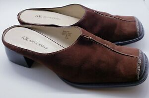 Anne Klein Women Shoes 7.5M Brown Suede Leather Square Toe Mules Slipon  Mapoppy