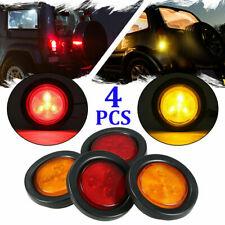 "2 Amber + 2 Red 2"" Round LED Clearance 4 LEDs Truck Trailer Side Marker Lights"