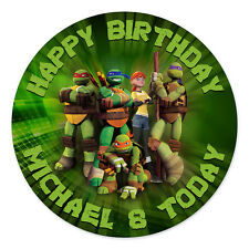NINJA TURTLES PERSONALISED EDIBLE ICING IMAGE PARTY CAKE TOPPER ROUND