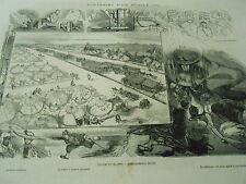Gravure 1871 - Souvenirs d'un Mobile Scènes Camp de Chalons Chasse à l'espion