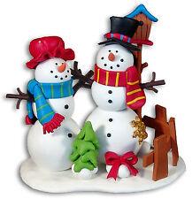 Cute SNOWMAN Couple FIGURINE/ Ornament Handmade Polymer Clay Statue