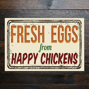 Classic Rustic FRESH EGGS from HAPPY CHICKENS sign metal PVC Vinyl sticker 9645