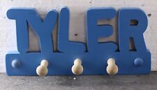 WOODEN COAT PEGS HOOKS/HOOK HANGERS PERSONALISED CHILDRENS BEDROOM NAMES IGGLETY