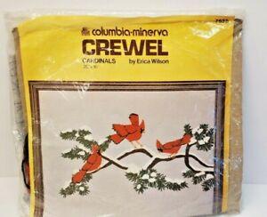 Vintage Columbia Minerva Erica Wilson Christmas Holiday Cardinal Poinsettia Wreath Crewel Embroidery Kit