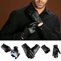 Fashion Men Genuine Leather Gloves Sheepskin Windproof Warm Glove Autumn Winter