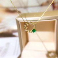 "0.50 CT Colombian Emerald Pendant Necklace With 18""Chain In 14K Yellow Gold Over"