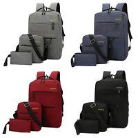 3pcs Men Women Backpack Travel Shoulder School Bag USB Charge Canvas Rucksack