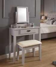Dressing Table Set Grey Padded Dresser Stool Fabric Adjustable Mirror & Drawer