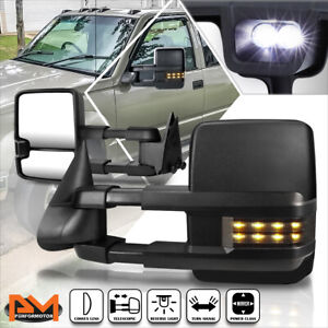 For 88-02 Chevy/GMC C/K Truck Power Black Towing Mirror w/Smoked LED Lamp Pair