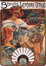 "TARGA VINTAGE ""biscuits lefevre utile 1897"" Poster Storico, PUB, BAR,PUBBLICITA'"
