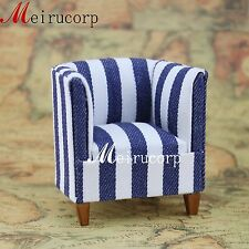 1:12 scale dollhouse miniature furniture nice well made blue white striped chair