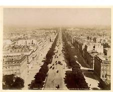 France, Paris, Perspective de l'Avenue des Champs Elysées  Vintage albumen
