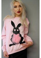 Alice Takes A Trip Ladies Fluffy Rabbit Jumper Nwt Pink Uk12 Alternative Barbie