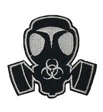 Gas Mask Biohazard Symbol Embroidered Patch DIY Iron On Applique Gothic White