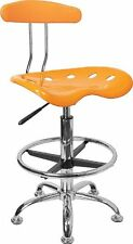 NEW Office Chair Drafting Stool Tractor Seat Tall Height Swivel Bar - Yellow