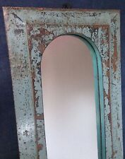 ANTIQUE/VINTAGE INDIAN. LARGER TRADITIONAL ARCHED TEMPLE MIRROR in SLATE GREY.