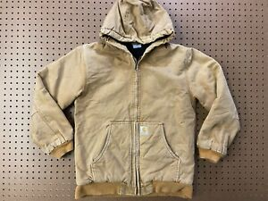 BOYS XL (18-20) - Carhartt Duck Flannel Quilted Lined Hooded Zip Jacket