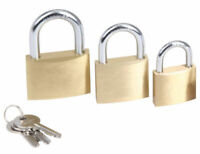 Brass Padlock 3 Set with Size 20mm 25mm 30mm Solid Brass Padlock