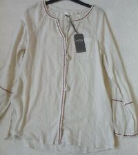 Fat Face Carly Style Ivory Mix Long Sleeve Button Front Embrodiered Blouse 8-18 14