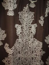 THRESHOLD LARGE MEDALLION BROWN FABRIC SHOWER CURTAIN 70 X 69 100% COTTON