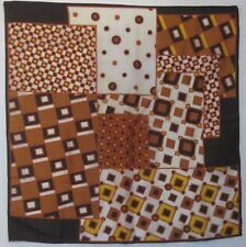 "TERRIART Brown, Rust, Gold Abstract Patchwork 26"" Square Scarf-Vintage"