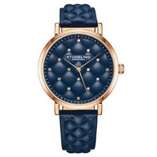 Stuhrling 3945 4 Crystal Accented Quilted Blue Leather Strap Womens Watch