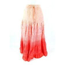 Bobbie Brooks Womens Skirt Sz M Elastic Peach Pink Sequins Lined Tie Waist Sheer