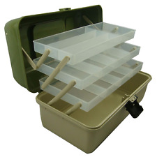 3 Tray Cantilever Fishing Tackle Box, Adjustable Compartments, Green, Lunar