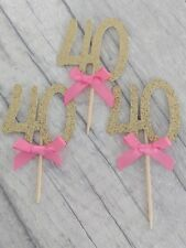 12 x 40th gold glitter cupcake toppers with bow 40 fortieth birthday cake number