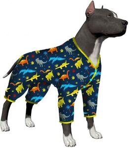 LovinPet Dog Pajamas for Universal Large Dogs/Dinosaur Print Navy Pullover