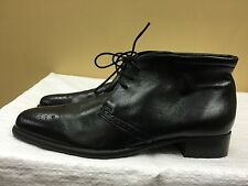 CAREL PARIS Black Leather Ankle lace up boots Handmade in Italy size 36.5