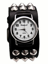 PRIMEMAX: HEAVY LEATHER BIKER  METAL STUDS STYLE BAND LARGE CASE ANALOG WATCH