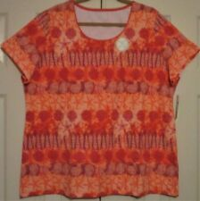 Women's Size XXL Kim Rogers Top Coral Shell NWT