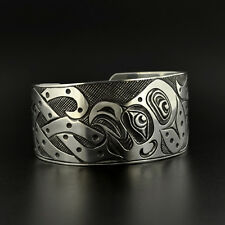 Unisex Octopus Cuff Bracelet Hand-Engraved Sterling Silver Oxidized Native Art
