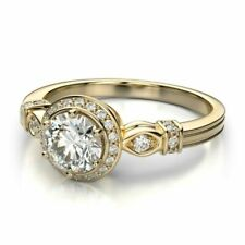 1 Ct Round Cut D/vvs1 Solid 14k Yellow Gold Halo Engagement Ring