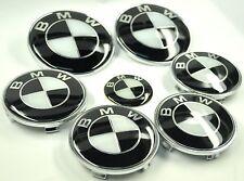 Conjunto completo de blanco y negro BMW Rueda Centro Tapas Sombrero & Volante insignias de arranque