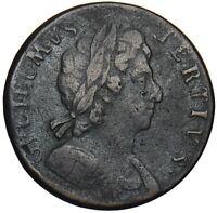 1696 HALFPENNY - WILLIAM III BRITISH COPPER COIN